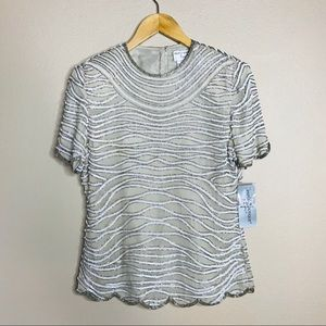 Adrianna Papell Boutique Beaded Top S Silk Ivory